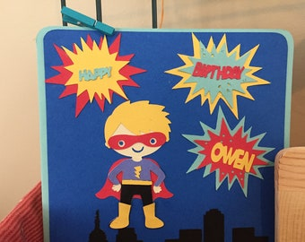 Super hero boy, super hero girl personalized greeting card,  superhero birthday card, girl super hero, girl super hero card