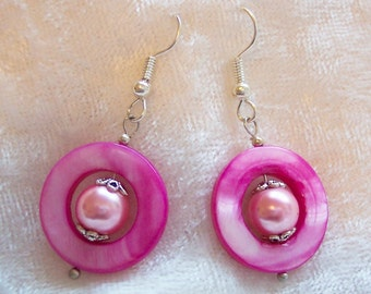 Pink Earrings, Pink Mother of Pearl Donut Earrings, Pink Glass Pearl Earrings, Mother of Pearl Earrings, Silver, Clip ons Available