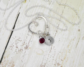 MINI Heart Clasp Ring or Charm Holder Necklace, Wedding / Engagement Ring Holder Pendant / Heart Clasp Ring Holder Pendant, Lovers Necklace