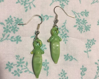 Green Peas Glass and Silver Earrings