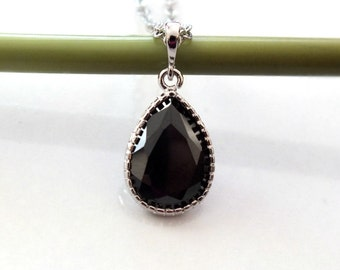 CZ Earrings, Christmas Gift, Jet Black Zirconia TearDrop Necklace with Silver Plated Frame, Bridal Necklace, Mother Jewelry, Cubic Zirconia