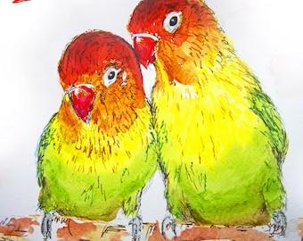 Valentines Love Birds Card