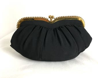 Vintage Black Faille Fabric Clutch with Gold Frame and Rhinestones