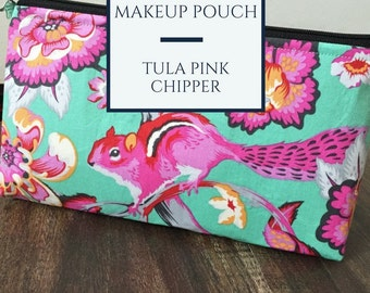 Zippered makeup pouch or diabetic supply bag in a Tula Pink chipmunk fabric
