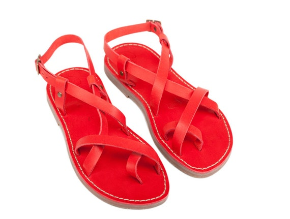 Leather Gladiator Sandals flats Red Sandals Women Sandals sandals Sandals Greek Strappy sandals Greek Gladiator Sandals Leather xXdw7q7F