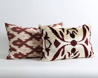 Ikat velvet pillow cover with silk ikat backing // Dark purple white lumbar decorative handwoven pillow