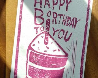 HandPrinted Birthday Card ( Violet )