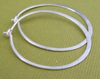 MEDIUM 1 inch sterling silver hoop earrings