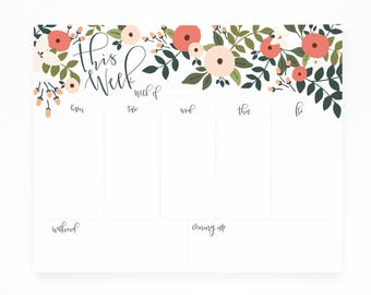 Weekly Planner Notepad, Illustrated Weekly Desk Notepad, Mousepad Planner Notepad : Rosy Grove Collection