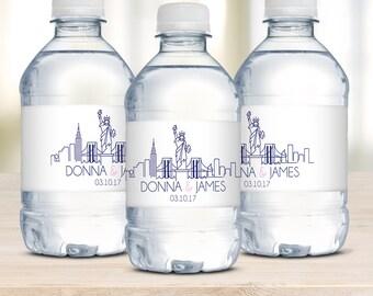 Wedding Water Bottle Labels, NYC Skyline, Wedding Welcome Bags, Water Label, NYC Wedding, Destination Wedding, New York City, Wedding Favors