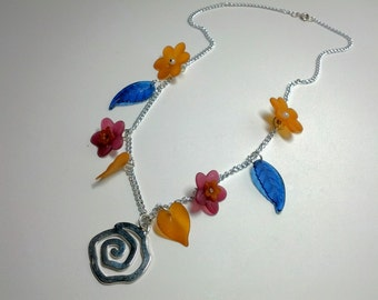 Clearance Blue Orange and Magenta Colorful Flower Pendant Charm Necklace