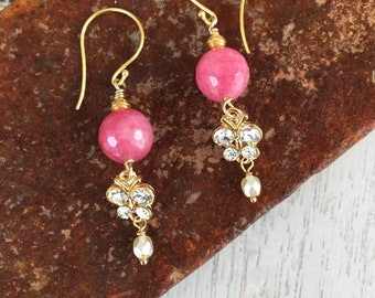 Pink and gold earrings with crystal butterfly link