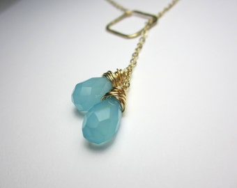 Light Blue Chalcedony Briolette Lariat Necklace