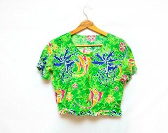 90s Batik Vacation Crop Top Tie Dye Tropical Fish Large