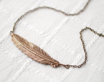Brass Feather necklace, Bronze Feather pendant, Gift for her, Feather jewelry, Tribal necklace, Layered necklace, Simple feather necklace