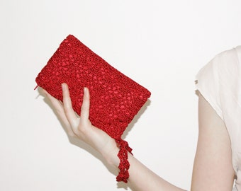 Red Clutch Purse, Small Crochet Bag, Wristlet Clutch Bag with Strap, Red Evening Bag, Bridesmaid Purses, Mother's Day Gift, MORE COLORS