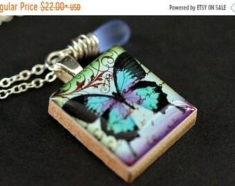 MOTHERS DAY SALE Butterfly Necklace. Scrabble Tile Necklace. Blue Butterfly Charm Necklace with Blue Teardrop. Handmade Jewelry.