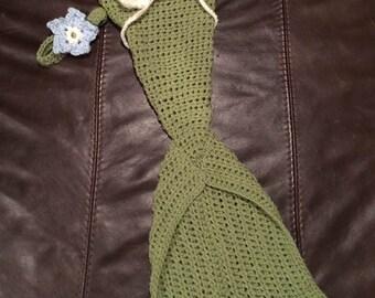 Newborn Mermaid Outfit - Baby Mermaid Tail -Crochet Mermaid Photo Prop -Baby Girl Gift -Crochet Mermaid Set -Mermaid Cocoon Photography Prop