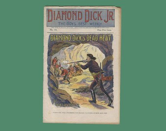 "Antique 1899 Victorian Magazine Diamond Dick Jr Weekly ""Diamond Dick's Dead Heat"" - Published July 15, 1899"