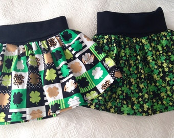 Girls St. Patrick's Day skirt, Yoga Waistband skirt, Shamrock Skirt, St. Patty's skirt, made to order 12 month, 18 month, 2t, 3t, 4t, 5t