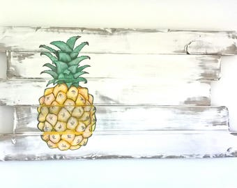 Wood wall art, wall decor, pineapple, customizable
