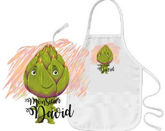 "Cooking apron child ""artichoke"" personalized"