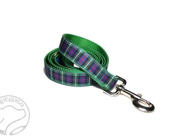 MacKenzie Clan Tartan Leash // Matching Tartan Dog Leash in all widths // Plaid Leashes // Tartan Lead // Handmade Leash