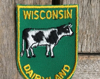 Wisconsin Dairyland Vintage Souvenir Travel Patch by Voyager