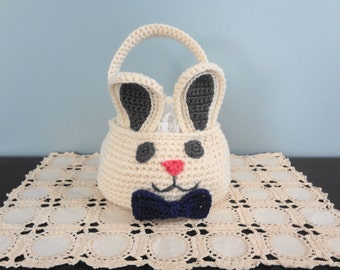 Crochet Pattern - Easter Basket - Boy or Girl Easter Bunny Basket / Purse