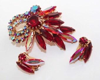 Vintage Siam, Siam Aurora Borealis and Hyacinth Aurora Borealis Rhinestone Brooch and Clip-On Earring Set