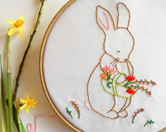 Easter Bunny Embroidery Pattern - Hand Embroidery Pattern - Over the Garden Gate