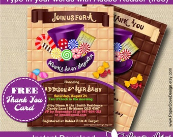 """Inspired Willy Wonka Baby Shower Invitation 5x7""""