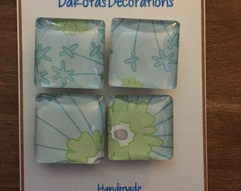 Square Magnets, Set of 4 Magnets, Heavy Duty, Handmade, Floral Pattern, Blue and Green, Gift