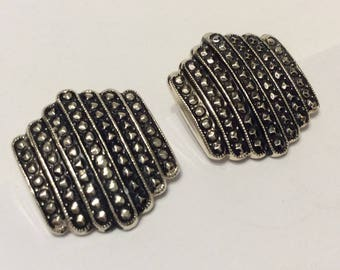 Vintage Marcasite Silver Tone Clip On Earrings Signed W. Germany