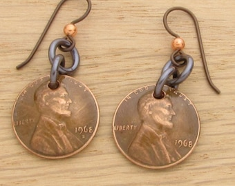 For 50th: 1968 Dark Copper US Penny Earrings 50th Birthday or 50th Anniversary Gift Coin Jewelry