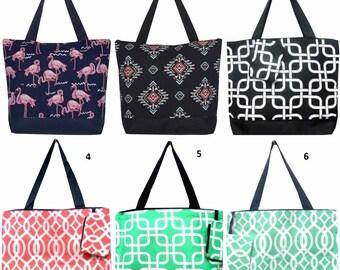 Monogrammed tote bag: chevron, flamingo, owl