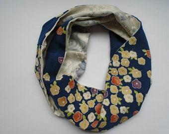 Blue Plum Branch Japanese Silk Scarf - Vintage Japanese Silk Kimono Fabric
