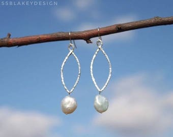 Hammered Sterling Silver and Freshwater Pearl Earrings