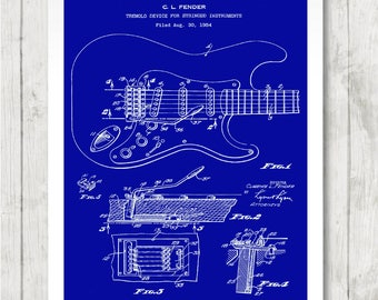 Framed blueprint etsy fender rock guitar patent design blueprint framed art print picture high resolution poster home decor gift 076 malvernweather Images