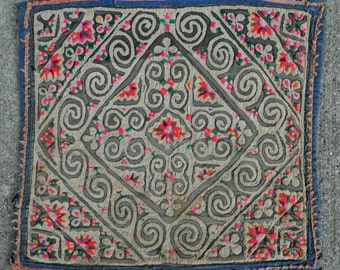 "Antique Embroidery Textile from Miao indigenous Chinese ethnic people - 10"" x 9"" - 25 x 23 cm. - Free shipping!"