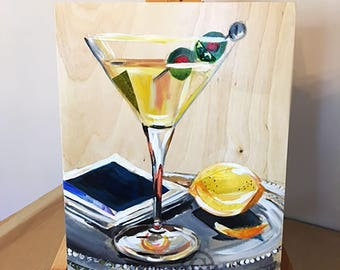 "11""x14"" Martini Original by Liesl Long Chaintreuil"