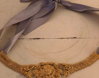 Vintage Gold and Ribbon Necklace