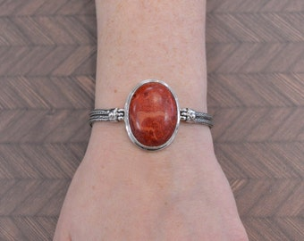 Large Oval Red Sponge Coral Bracelet // Coral Jewelry // Sterling Silver // Village Silversmith