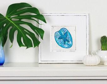 Sand Dollar art, watercolour print, beach art, sea shell print, nautical coastal decor