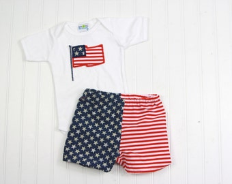 4th of July Outfit - American Flag Shorts - Patriotic Outfit - Fourth of July Outfit - Fourth of July Baby - Patriotic Shirt - Flag Outfit