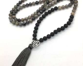Labradorite + Aroma Diffusing Volcanic Lava 108 Bead Mala Meditation Necklace with Silver Plaged Lotus Charm (Can Be Worn As Bracelet, too!)