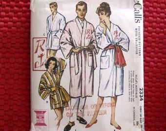 Vintage McCalls Pattern 2334 Men's/Womens Monogramed Robes - Short/Long