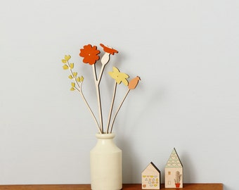 Wooden Flowers - Plywood Flowers - Meadow Flowers - Red Campion set