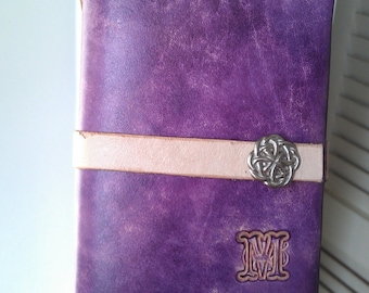 Leather Passport Cover Wallet - Passport Wallet - Leather Wallet - Plum, Hand Stitched, Celtic Knot Snap, Other Colors Available