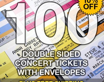 100 Concert Ticket Invitations - Double Sided with Envelopes & Shipping
